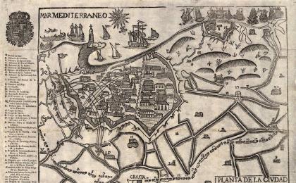 Grabado de la planta de la ciudad de Barcelona sitiada en 1714. AHCB.