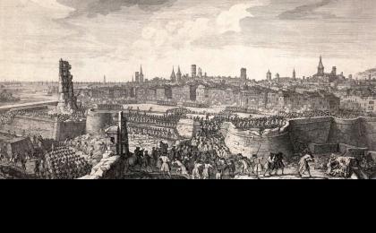El asalto final a Barcelona. Grabado de Jacques Rigaud impreso en 1732. AHCB.