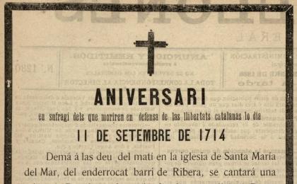 """Esquela apareguda a """"El Barcelonés"""" el 10-09-1886. AHCB."""