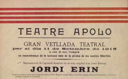 Cartell d'una vetllada teatral. 11-09-1913. AHCB.