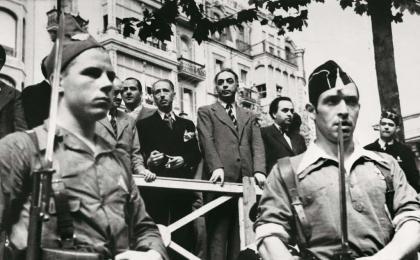 El president Lluís Companys i alguns conselleres (Tarradellas, Casanovas, Gassol). 11-09-1936.