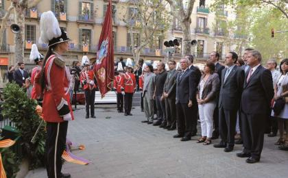 Ofrena del consistori barceloní al monument a Casanova. 11-09-2012. DTP.