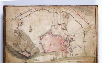 """""""Verídico plano de Barcelona, sitiada desde 25 de Julio 1713 hasta 12 de Setiembre 1714"""". AHCB."""