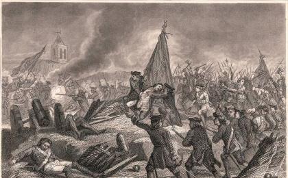 Rafael Casanova cau ferit. Gravat publicat el 1872. AHCB.