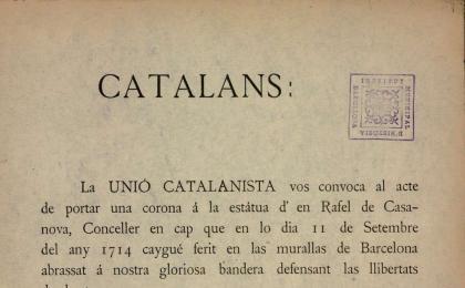 Crida de la Unió Catalanista. 15-09-1901. AHCB.