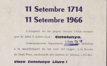Full volander convocant la manifestació de l'Onze de Setembre. 1966. AHCB.