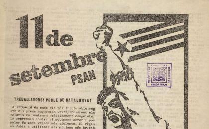 Crida del PSAN reivindicant un nou Estatut d'Autonomia. 11-09-1972. AHCB.