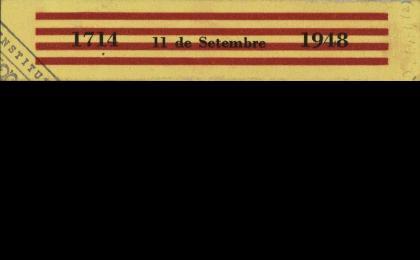 Cinta impresa commemorant la Diada amb gran senzillesa. 11-09-1948. AHCB.