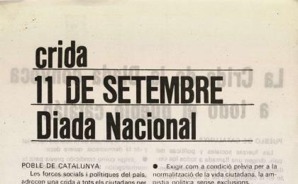 Llamamiento de la Asamblea de Catalunya. 11-09-1976. AHCB.