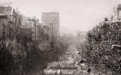 Vista del Passeig de Gràcia. 11-09-1977. Pérez de Rozas. AFB.