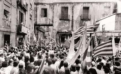 El Fossar de les Moreres abans de la rehabilitació. 11-09-1977. J. Brangulí. AFB.