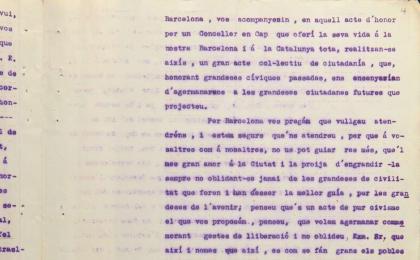 Instancia al alcalde de Barcelona pidiendo un monumento dedicado a Casanova. 20-06-1914. AMCB.